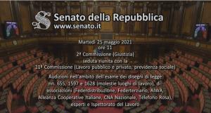 SIPLO interviene nell'audizione al Senato del 25 maggio, in ambito dell'esame dei disegni di legge nn. 655, 1597 e 1628 (Molestie sui luoghi di lavoro)